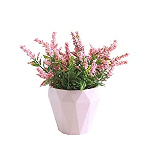 helegeSONG Fake Flowers Silk Plastic Artificial Plant 1Pc Artificial Flower Lavender Ceramic Pot Bonsai Garden Wedding Party Decor for Home,Office,Wedding,Garden, Pool, Gift, Desk, Hotel - Pink 49