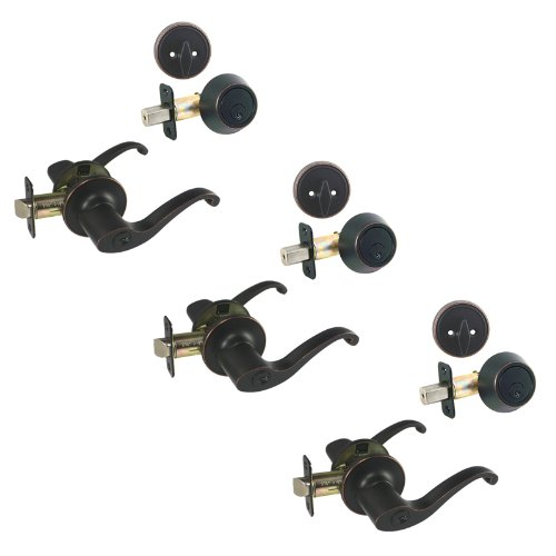 3 - Richmond Oil Rubbed Bronze Entry Lever with Matching Single Cylinder Deadbolt Combo Packs Keyed Alike (We Key Lock Orders Alike for Free) ()