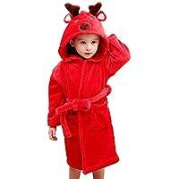 Hugmii Toddler Kids Warm Soft Cute Hooded Bathrobe Pajamas Sleepwear (Red, Large)