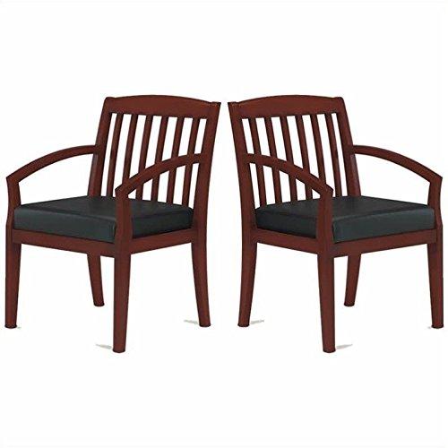 Mayline Mercado Genuine Black Leather Seat & Slat Back Solid Medium Cherry Wood Chair (Set of 2)