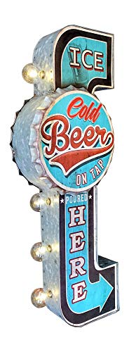 Ice Cold Beer On Tap Poured Here LED Bar Sign, Large 25