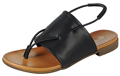 Cambridge Select Women's Open Toe Thong Slingback Stretch Slip-On Flat Sandal,9 B(M) US,Black PU (Women Thong Sandals Pu)