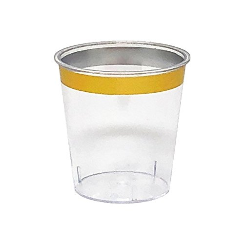 - Metallic Gold Rimmed Plastic Shot Glass 1oz 30pcs - Excellent Home Decor - Indoor & Outdoor