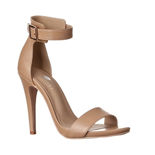 Riverberry Women's Madi Open Ankle Strap High Heel Pumps, Taupe PU, 7
