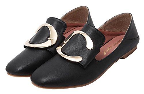 Allhqfashion Donna Tacco Basso Materiale Solido Scarpe A Punta Chiusa-scarpe Nere