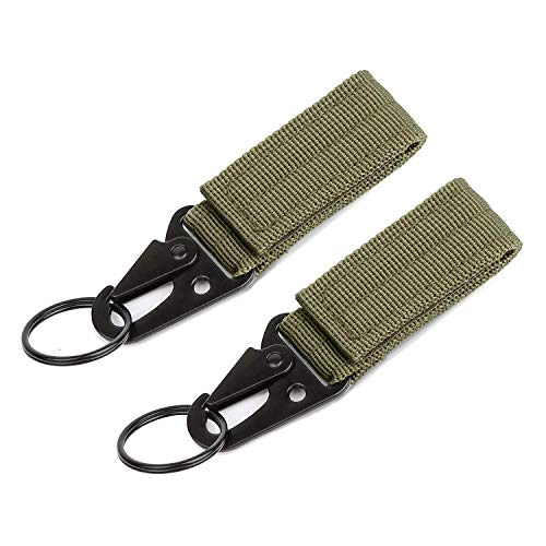 (Tactical Bag Accessories Nylon Rope Keychain Key Chain 2pcs Green Nylon Keychain Strap Holder Metal Key Ring Tactical Keychain Carabiners Attachment)