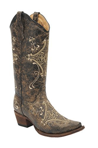 (Corral Women's Circle G Crackle Scroll Bone Embroidered Western Boot Brown)