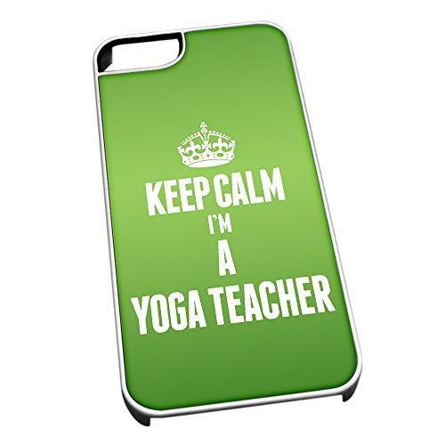 Bianco cover per iPhone 5/5S 2719verde Keep Calm I m A yoga Teacher