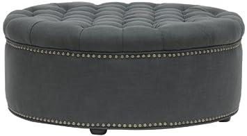 baxton studio iglehart linen modern tufted ottoman gray
