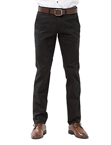 ADFOLF Men's Casual Pants Slim Tapered Cotton Business Dress Pants Stretch Chinos Black (Cotton Dress Chino)