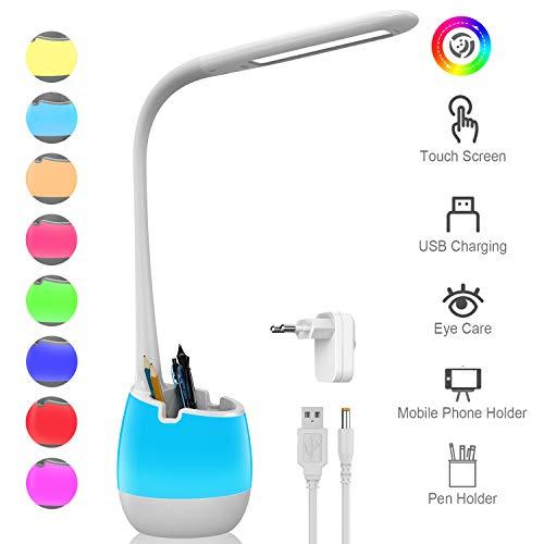 ERAY Lampara Escritorio LED con Portalapiz 4 en 1, Bateria Recargable 2000mAh, Base de Cambio de Color (Luz nocturna), Soporte para Movil, 3 Modos y 3 Niveles de Brillo, Control Tactil, Color Blanco