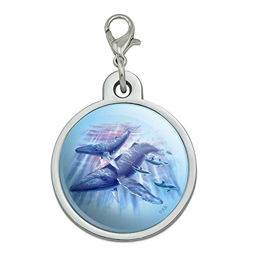 Graphics and More Humpback Whales Ocean Dance Chrome Plated Metal Pet Dog Cat ID Tag - Large