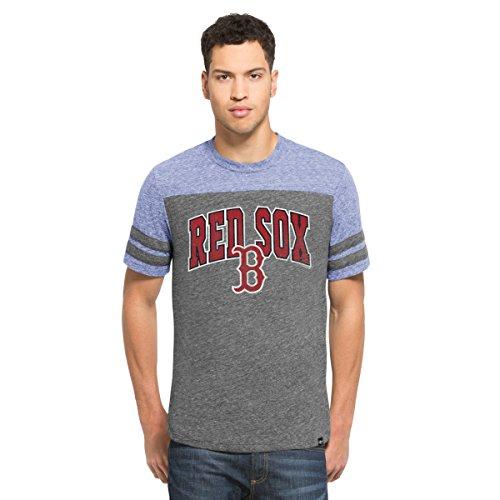 MLB Boston Red Sox Men's '47 Neps Football Tee, X-Large, Vintage Grey (Boston Red Sox Raglan)