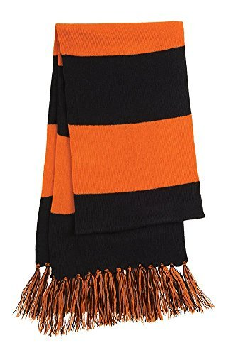 Dri-Wick Knit Stripe Scarf with Fringe (Black/Deep Orange) by Dri-Wick