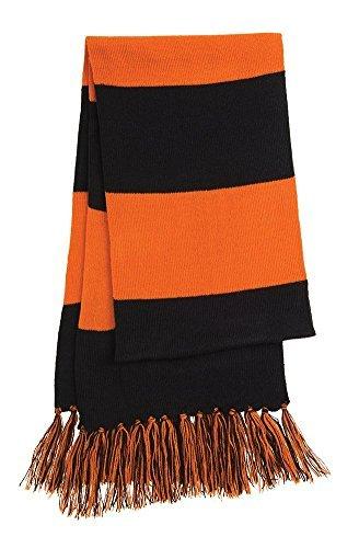 Dri-Wick Knit Stripe Scarf with Fringe (Black/Deep Orange)
