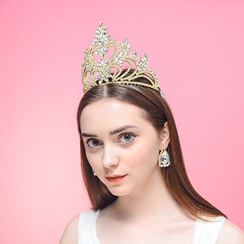 DcZeRong 5'' Tall Large Tiara Adult Women Birthday Pageant Prom Queen Gold Crystal Rhinestone Crown by DcZeRong (Image #3)