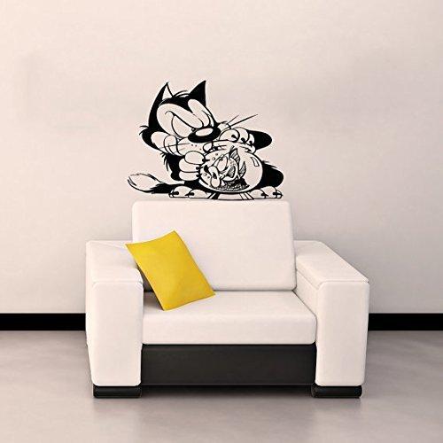 Vinyl Decal Mural Sticker Cat And Fish Children'S Nursery Kids Room Window Sv2100 by VSDecals