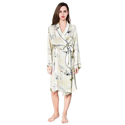 COLD POSH Women's Silk Satin Robe Knee Length Bathrobe Japanese Crane Print Sleepwear,S ()
