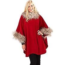 Boutique, Ladies Luxury Classic Poncho with Fur Trim