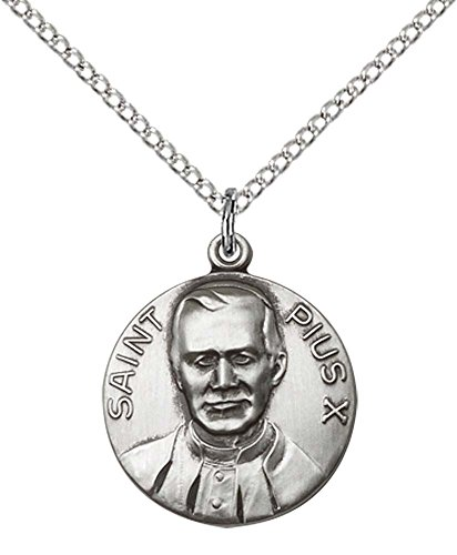 Sterling Silver Pope Pius X Pendant with 18