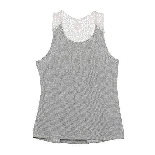 Gillberry Women Summer Lace Vest Top Short Sleeve Blouse Casual Tank Top T-Shirt (L) from Gillberry