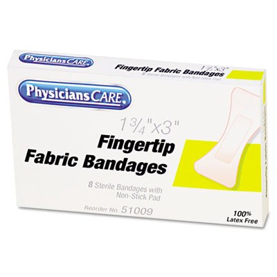 Acme Unitd Large Fingertip Bandages,1 X 3, 8/Box Acme Adhesive Refill Bandages