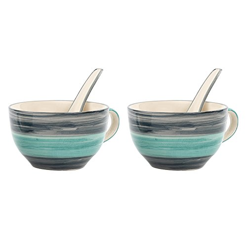 Kittens Handpainted Seagreen Soup Bowl With Spoon (Set Of 2) Price & Reviews