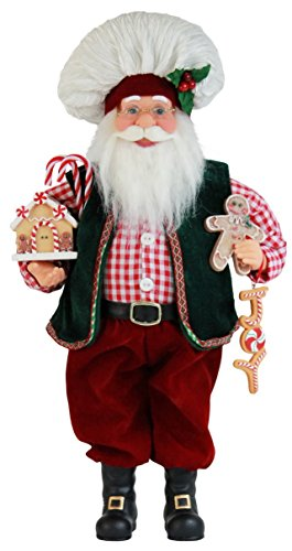 16″ Inch Standing Gingerbread Chef Cooking Santa Claus Christmas Figurine Figure Decoration 16716