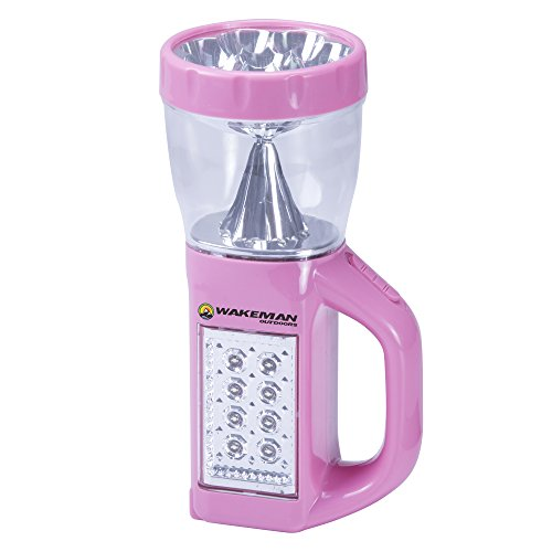 3 in 1 LED Lantern, Flashlight and Panel Light, Lightweight Camping Lantern by Wakeman Outdoors (for Camping Hiking Reading and Emergency) (Pink) ()