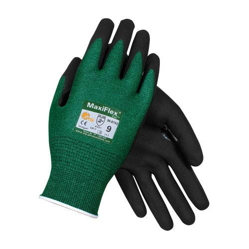 PIP MaxiFlex Cut Micro-Foam Nitrile Coated Gloves, Black, X-Large, 12 Pairs (34-8743/XL) by PIP (Image #1)