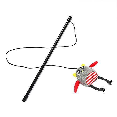 - ❤️MChoice❤️Cat Toy Chaser Stick Cute Cartoon Rabbit Bird Monkey Interactive Play Pet Toy (Gray)