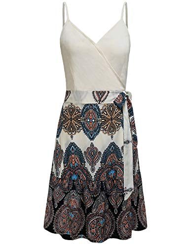 Sexy Summer Dresses for Women,Sleeveless Spaghetti Strap Causal Cool V Neck Work Thin Dress Cute Bohemian Floral Ruffle Flowy Flattering A Line Trim Mini Dress Leisure Daily Wear Apricot Flower L ()