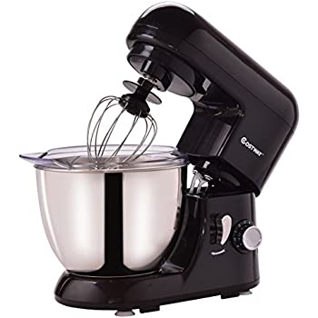 Costway Tilt-head Stand Mixer 4.3Qt 6-Speed 120V/550W Electric Food Mixer w/ Stainless Steel Bowl (Black)