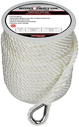 Extreme Max 3006.2075 BoatTector Twisted Nylon Anchor Line with Thimble White 3//8 x 50