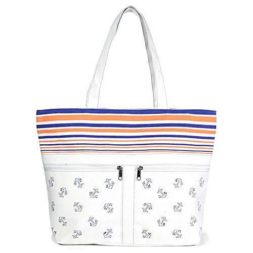 Me Plus Women Large Beach Tote Bag Zipper Closure Inner Pocket W/Front Pockets (Anchor Striped w/Pockets - White)