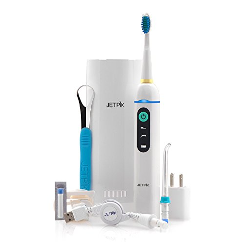 JETPIK JP210 Solo Rechargeable Portable Power Water Flosser and Sonic Toothbrush with Patented Floss Technology and Cordless Dental Water Jet Cleaning for Home and Travel Use (Combo Solo)