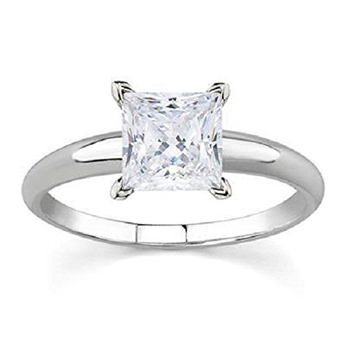 Smjewels 1 Ct Princess Cut Diamond Solitaire Engagement Wedding Ring 14k White Gold Fn