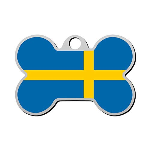 YTWISS 63 Custom Sweden Flag Pet ID Tags Personalized 3D Print Front and Back Bone Shape Dog Tags & Cat - Shape Sweden