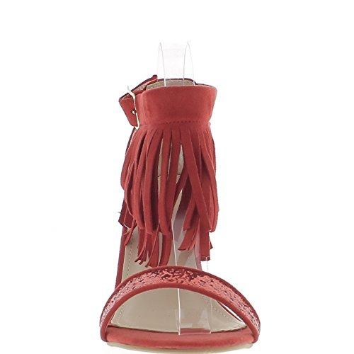 Sandales grande taille rouges à franges à talon de 9cm