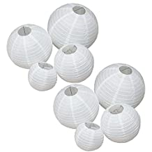 LJY Paper Lanterns Assorted Sizes, Pack of 8