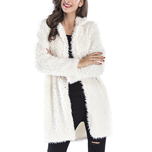 Gloria JR Womens Fuzzy Faux Lamb Fur Coat Long Jacket Notched Lapel Mid Long Coat (XL-Large, White)