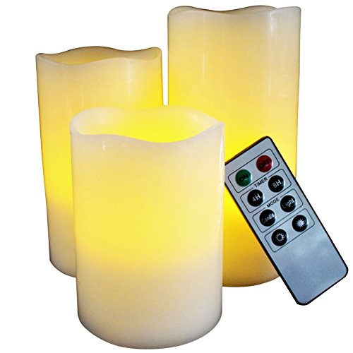Led Lytes Battery Operated Candles Set Of 3 Round Ivory Wax With