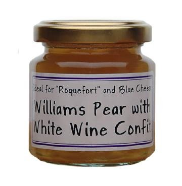 William Pear and White wine French Imported confit for cheeses 4.4 oz jar by l'Epicurien France, One