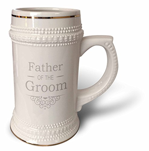 Groom Party Stein (InspirationzStore Occasions - Father of the Groom in silver - Wedding - part of matching marriage party set - grey gray swirls - 22oz Stein Mug (stn_151584_1))