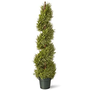 National Tree 48 Inch Upright Juniper Slim Spiral Tree with Artificial Natural Trunk in Green Round Plastic Pot (LCYSP4-702-48) 37