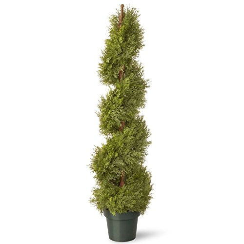 National Tree 48 Inch Upright Juniper Slim Spiral Tree with Artificial Natural Trunk in Green Round Plastic Pot (LCYSP4-702-48) by National Tree Company