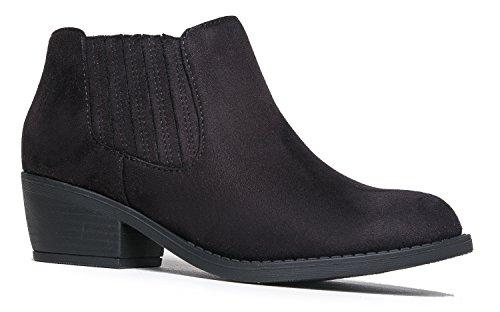 J. Adams Arlo Western Bootie - Comfortable Round Toe Low Heel Slip On Ankle Boot (Comfortable Walking Boots)