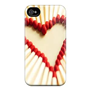 Rugged Skin Case Cover For Iphone 4/4s- Eco-friendly Packaging(love Matchsticks)