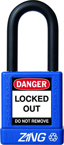"""ZING 7032 RecycLock Safety Padlock, Keyed Different, 1-1/2"""" Shackle, 1-3/4"""" Body, Blue from Zing Green Products"""