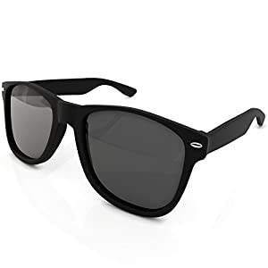 Wayfarer Style Sunglasses Set Black Polarized Large Unisex Outdoor Sports Glasses for Men Women Teens with UVA/UVB Protection Retro 80s Vintage Hipster Eyewear Brand New Wayfarers with Carrying Case